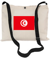 Tunisian Flag Canvas Musette Bag 40x30cm, 150cm Long black adjustable strap