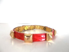 Ted Rossi Red Lizard Pyramid Stud Cuff Bracelet NWOT $175