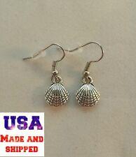 New Silver Sea Shell Clam Ocean Beach Dangle Earrings Womens Hypo-Allergenic!