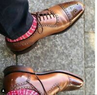 Handmade Men's Brown Two Tone Brogues Style Dress/Formal Oxford Leather Shoes