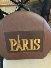 "Big Brown Leather Paris Suitcase Vintage Eifle Tower 15 X 13"" Real Nice"
