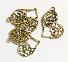 sided filigree heart charm 37x32mm 30 pcs of antique Silver double