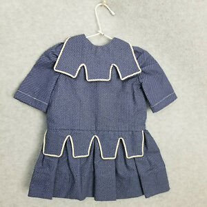 """12-1/2"""" Navy blue & white trim Doll Dress for 16"""" to 19"""" antique or vintage Doll"""