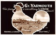 GT YARMOUTH NORFOLK UK SOMETHING TO CROW ABOUT CHICKEN POSTCARD POSTMARK 1959