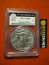 2011 S SILVER EAGLE PCGS MS70 FROM THE 25TH ANNIVERSARY SET BLACK LABEL