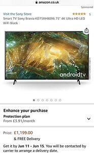 "75"" Sony KD75XH8096 75 inch 2020 4K Ultra HD HDR Smart TV"