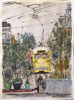 "Watercolor Original Painting ""Friends Chatting, San Francisco""  11"" x 15"""
