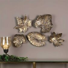 FIVE BRONZE COLOR LEAVES DECORATIVE LEAVES AGED FINISH WALL ART MODERN DECOR