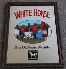 "Vintage White Horse Scotch Whisky Framed Bar Mirror 24"" x 18"" 