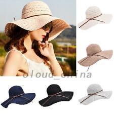 Summer Women Lady Girl Beach Large Brim Foldable Sun Straw Hat Cap
