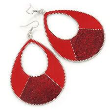GRANDE Smalto Rosso Con Brillantini Orecchini a Cerchio Ovale Tono Argento - 90mm L