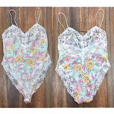 Victorias Secret Pastel Floral Lace Lingerie One Piece Leotard Womens Small