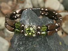 Magnetic Copper Hematite Bracelet Anklet 2 Row Swarovski Peridot Crystal Slider