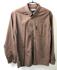 Mens Columbia Shirt Large Button Down Brown Striped Cotton
