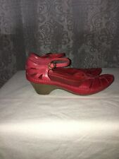 Clarks Red Leather Mary Jane Sandals Size 5