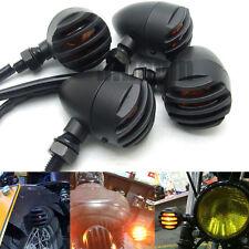 4X Black Motorcycle Turn Signal Light Bullet Blinker Amber Indicator 3 wire Lamp