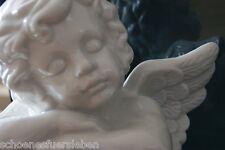 Engel Putte Büste Porzellan lasiert weiß 22 cm Figur Statue schlafend Engelbüste