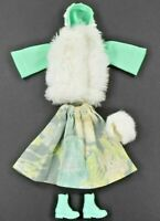 Barbie Vintage Clone HM Lime Gray Skirt Lime w/Faux Fur Jacket Shoes Fur Purse