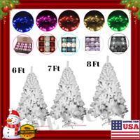 USA Arbol De Navidad Blanco 6/7/8 Ft Decoracion Luces+Adornos Vacaciones Nuevo