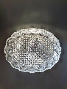 """VINTAGE Pressed glass SERVING BOWL/PLATTER 8""""x6"""""""