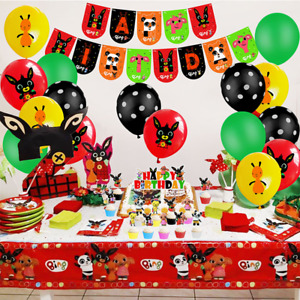 Bing Red Bunny Balloons Set Party Supplie Kids HAPPY BIRTHDAY Banner Cake Topper