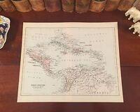 Fine Original 1886 Antique Map WEST INDIES Florida Keys Bahamas Aruba Jamaica