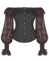 Punk Rave Womens Steampunk Blouse Top Black Brown Gothic Boho Victorian Vintage