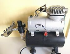 Single Cylinder Piston Airbrush Compressor Air Tank 1/6HP AS186 + 6 way manifold