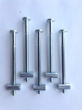8 FURNITURE/BED BOLTS W/BARREL NUTS,RTG-SILVER COLOR-100MM X 6MM,HARD TO FIND