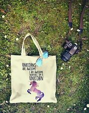 New Canvas Eco Hipster Tumblr UNICORNS ARE AWESOME Tote Shopping Bag For Life