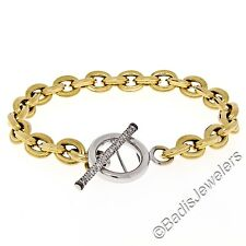 "18K Yellow Gold 7.5"" Ribbed Rolo Link Bracelet & White Gold Diamond Toggle Clasp"