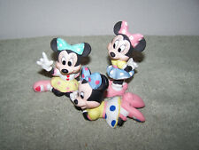 3 Minnie Mouse Porcelain Figurines 3.25 Inches Tall