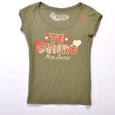 Guess by Marciano Te Quiero Mon Amour Casual T-shirt Military Green Top SHIRT XS