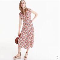 J Crew Mercantile Womens Floral Printed Easy Wrap Dress Size S Midi Cap Sleeve