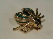 Vintage signed Roman Flying Bug pin brooch blue green rhinestone