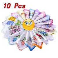 10Pcs Lady Child 100% Cotton Flower Vintage Handkerchiefs Quadrate Hankies US