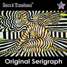 pop art scream munch portrait woman original painting serigraph canvas artist