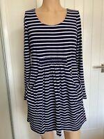 Joules Dress Tunic Top UK Size 14 Womens Ladies Blue White Stripe Pockets