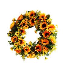Artificial Sunflower Wreath Silk Yellow Hanging Plants Flower Garlands Home Deco