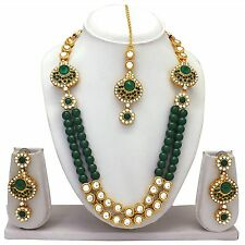 Indian Bollywood Bridal Gold Plated Wedding Jewelry Pearl Necklace Earrings Set