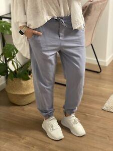 Jogger Hose mit Taschen Bündchen in Taubenblau One Size M/L 38 40 42 NEU (N10)