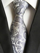 (NT265) New Silver Grey Paisley Necktie Wedding Office Party Formal Tie For Men