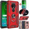 For Motorola Moto G7 Plus/Power/Supra/Play Shockproof Rugged Case+Tempered Glass