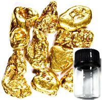 100 PIECE ALASKAN NATURAL PURE GOLD NUGGETS WITH BOTTLE FREE SHIPPING (#B250)