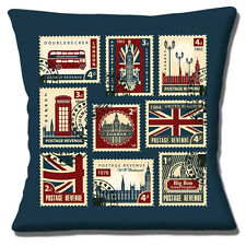 London Icon Stamps Cushion Cover 16x16 inch 40cm Big Ben Red Bus Telephone Box