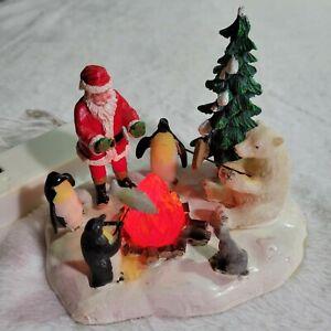 LEMAX Village Collection- Fireside Fun- Lighted- Santa Polar Bear Penguins 2007