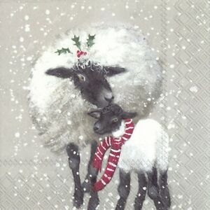 5 x Single Paper Cocktail Napkin/25cm/Decoupage/Christmas/Sheep/Beth and Tilli