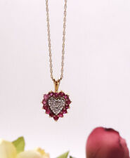 Ruby Diamond Heart Necklace 14K Yellow Gold