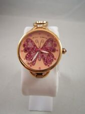Betsey Johnson Butterfly Rhinestone Pink Gold Color Metal Band Quartz Watch