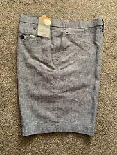 M&S Mens Gents Tailored  Fit Linen Blend Shorts Indigo Blue Size 44 Waist Free P